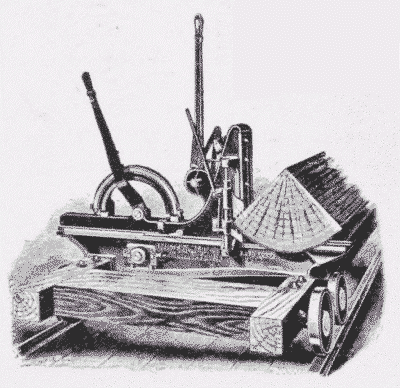 Fig. 42. Log-Carriage, holding quartered log in position to saw.