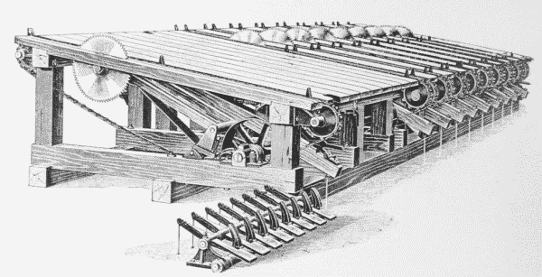 Fig. 45. Automatic Gang Lumber-Trimmer.