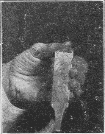 Fig. 79. Testing the Sharpness of a Chisel.