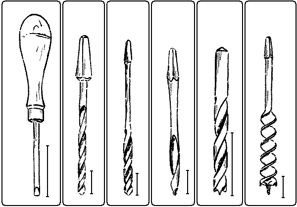 Fig. 125. Brad-Awl. Fig. 126. Twist-Drill. Fig. 127. Fig. 128. German Gimlet-Bit. Fig. 129. Bit-Point Drill. Twist-Bit. Fig. 130. Auger-Bit.