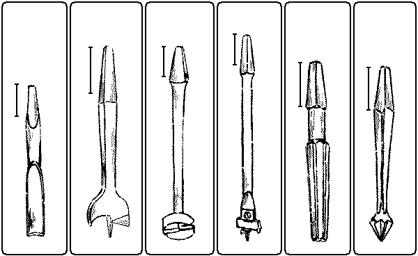 Fig. 131. Plug-Cutter. Fig. 132. Center-Bit. Fig. 133. Foerstner Auger-Bit. Fig. 134. Expansive-Bit. Fig. 135. Reamer. Fig. 136. Rose Countersink.
