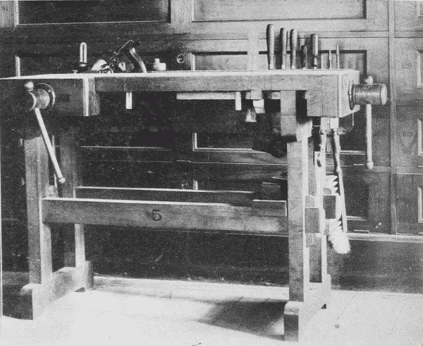 Fig. 166. Bench made with Pinned Mortise-and-Tenon Joints, Low Back.