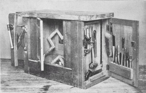 Fig. 167. Woodworking Bench used at Pratt Institute, Showing Self-Adjusting Upright Vise.