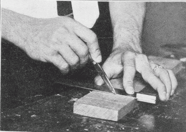 Fig. 204. Scribing with Knife by Try-Square.