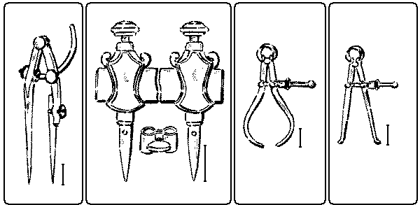 Fig. 207. Fig. 208. Beam-Compass or Trammel Points. Winged Dividers. Fig. 209. Outside Calipers. Fig. 210. Inside Calipers.