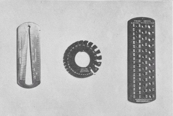 Fig. 220. Screw- and Wire-Gages. a. Screw-Gage. b. Wire-Gage. c. Twist-Drill-Gage.