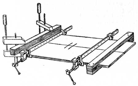 Fig. 27.—Cramping Glued Joints:  Handscrews and Batten shown at left; temporary Batten at right to keep the wood flat.