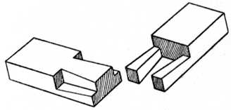 Fig. 42.—Dovetailed Halving Joint used for Lengthening Timber.