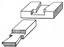 Fig. 44.—Dovetailed Halved     Joint with Shoulders.