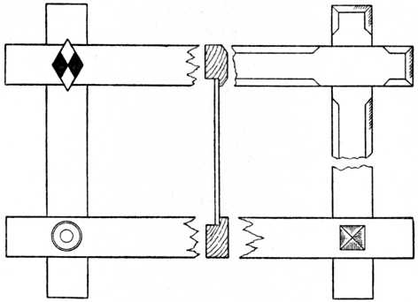 Fig. 61 (A).—Oxford Frame with Halved Joints. (Four alternative corner treatments are given.)
