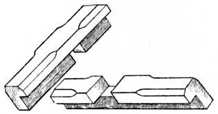 Fig. 61 (B).—Halved Joint of Oxford     Frame with front edges champered.