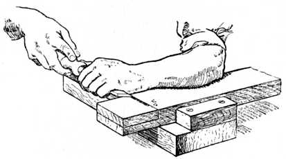 Fig. 66.—Chiselling away Wood up to Gauge Line.