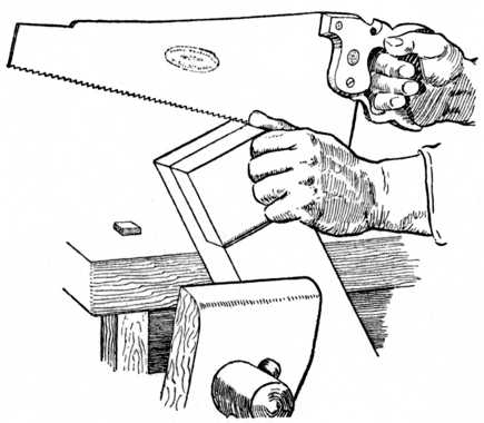 Fig. 70.—Sawing the Cheek of a Halving Joint.