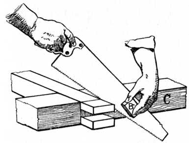 Fig. 92.—Sawing off Waste from Bridle Joint. (See reference on page 39.)
