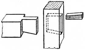 Fig. 157.—Dovetailed and Wedged Tenon.