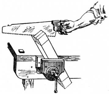 Fig. 179.—How to Saw the Tenons—First Operation.