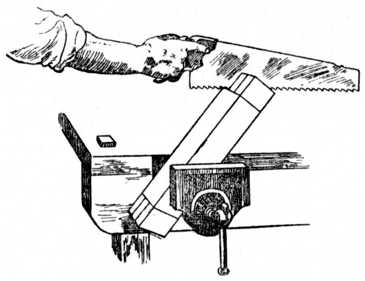 Fig. 180.—Second Operation in Sawing Tenons.