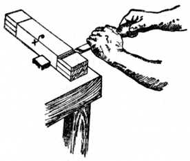 Fig. 181.—Cutting Channel at Shoulder of Tenon before Sawing.