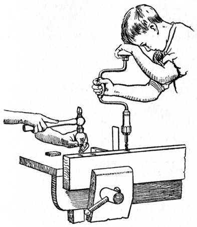 Fig. 194.—Pricking the Centres ready for Boring. Also showing how Brace is used in conjunction with Try Square.
