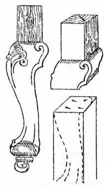 Fig. 210.—Dowelling a Cabriole Leg.