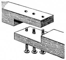 Fig. 220.—Lapped Scarf Joint with Bolts for Heavy Timber.