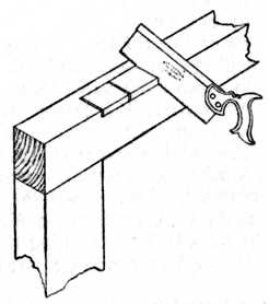 Fig. 225.—Sawing for     the Recess.