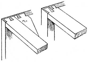 Fig. 293.—Carcase Work, showing Bearer Rails Dovetailed.
