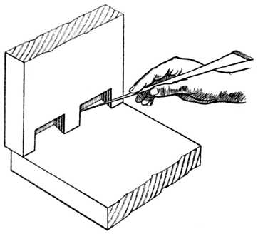 Fig. 307.—Marking Dovetails with Marking Awl.