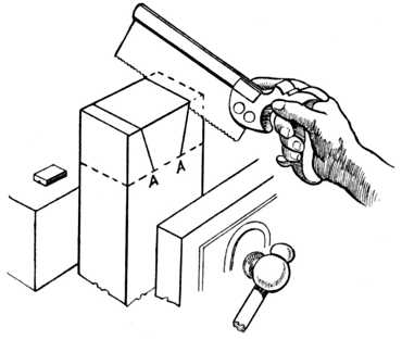 Fig. 308.—Sawing the Dovetails.