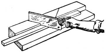 Fig. 324.—Sawing Block for Mitreing.