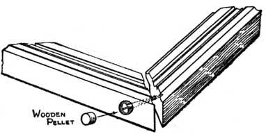 Fig. 357.—Method of Pelleting the Corner of a Mitred Picture Frame.