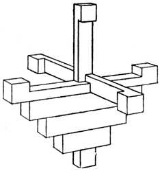 Fig. 377.—Beginning to place     on the Cross Pieces.
