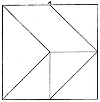 Fig. 397.—Six-piece Square Puzzle. (For     Guidance in Setting Out, the Centre of     Top Line is marked at A.)