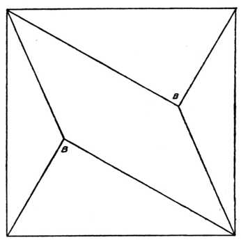 Fig. 398.—Five-piece Square Puzzle. (In     Setting Out, note that the Angles B B     are Right Angles.)