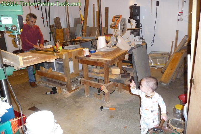 Son in the workshop.