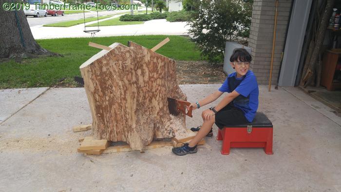 Sawing an oak slab by hand.