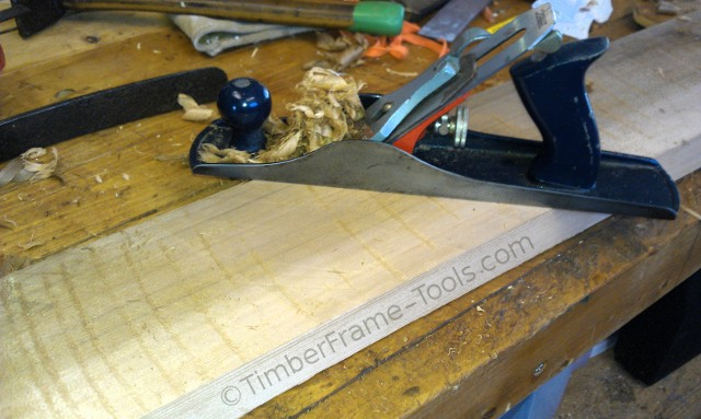 The scrub plane (an old Stanley Handyman Jack with a curved blade) lowers the field of the wood.