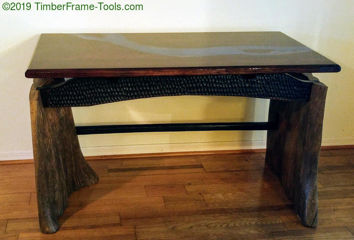 floating top slab legged desk