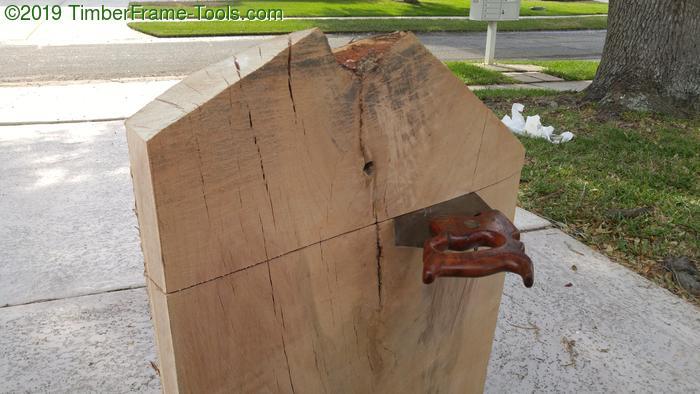 Crosscutting oak slab