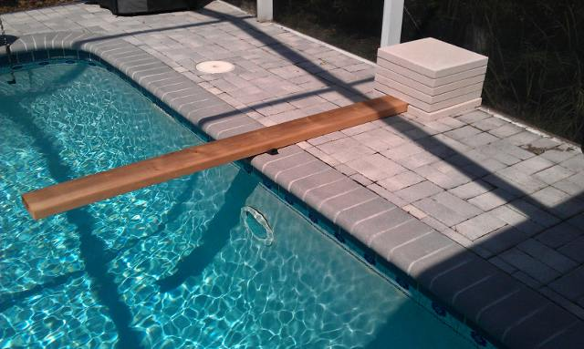 Homemade diving board