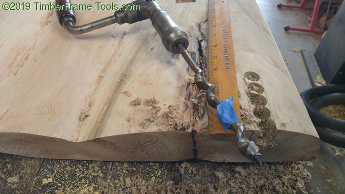 Boring out the waste from the dovetail socket.