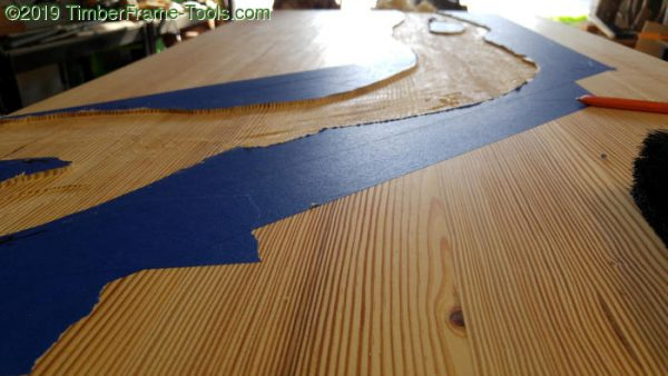 Routing out the river desk pattern.