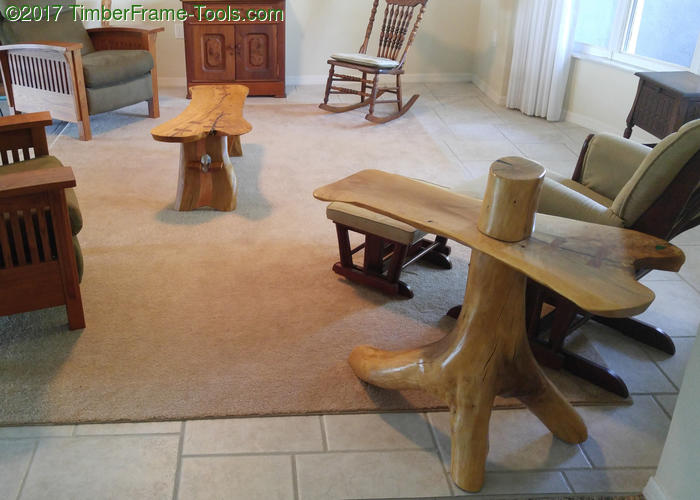 natural coffee table and matching end table