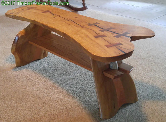 live edge coffee table with tapered legs