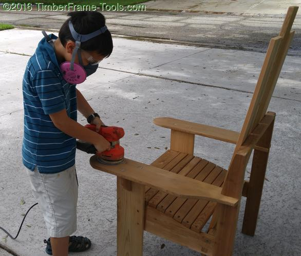 sanding the adirondack chair