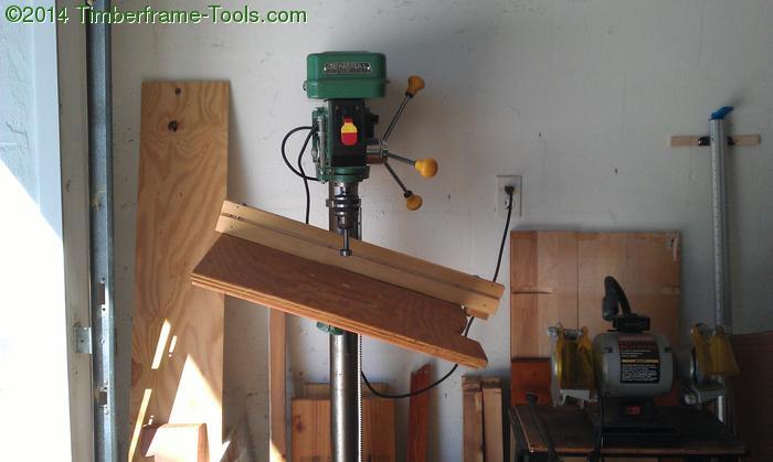 Drill press table at 20 degrees