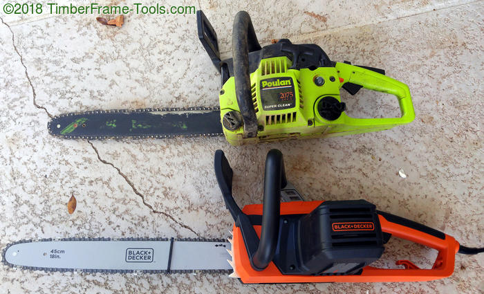 Poulan gas chainsaw vs Black and Decker electric chainsaw