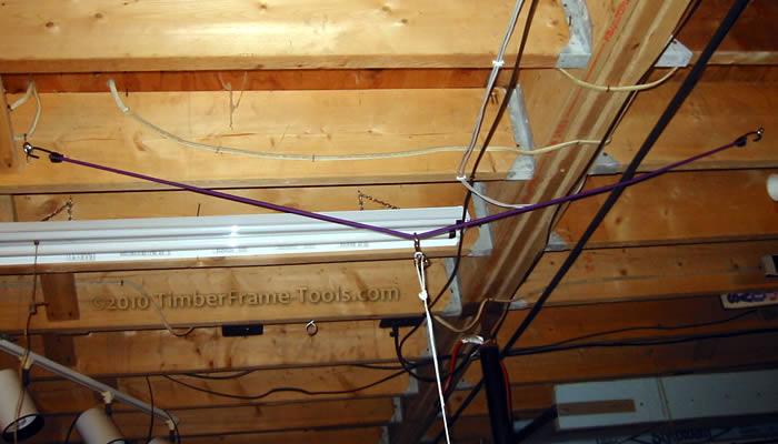 Bungee cord lathe setup