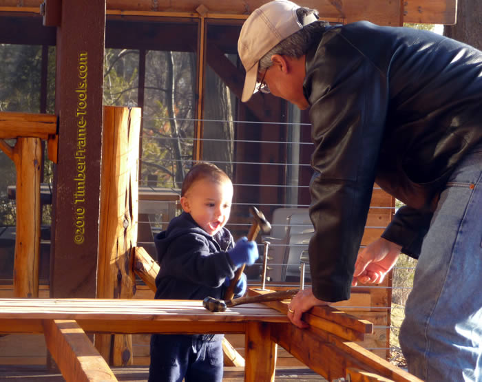 daddy and son hammering