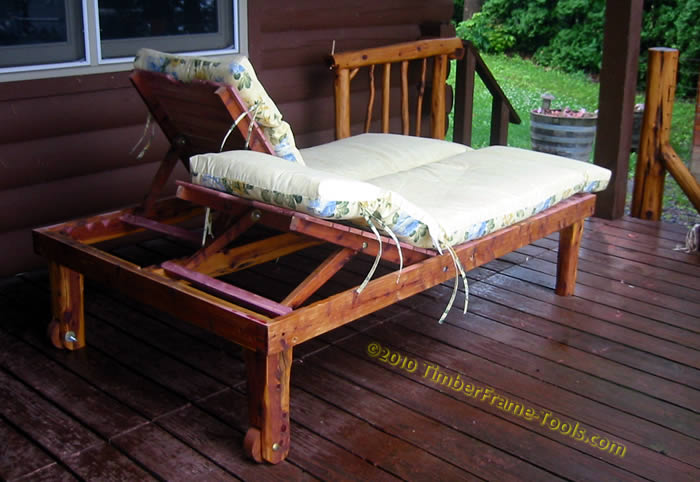 Timber frame tools double cedar chaise lounge for Cedar chaise lounge